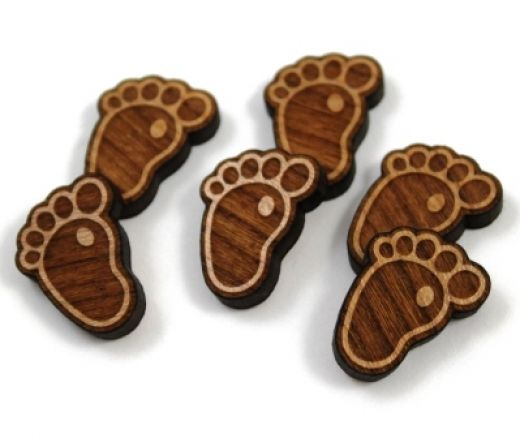 8 Pieces. Baby Footprint Charms -Mixed Laser Cut Wood Footprint - Earring Supplies- Laser Cut Supplies- Little Laser Lab Sustainable Wood Products | littlelaserlab.com