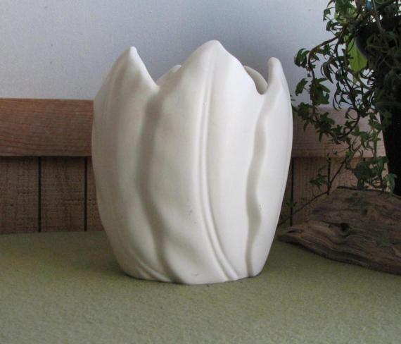 White Tulip Vase Pottery Flower Arranger Large by LazyYVintage