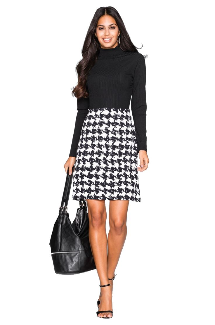 Office dress with printed black and white skirt
