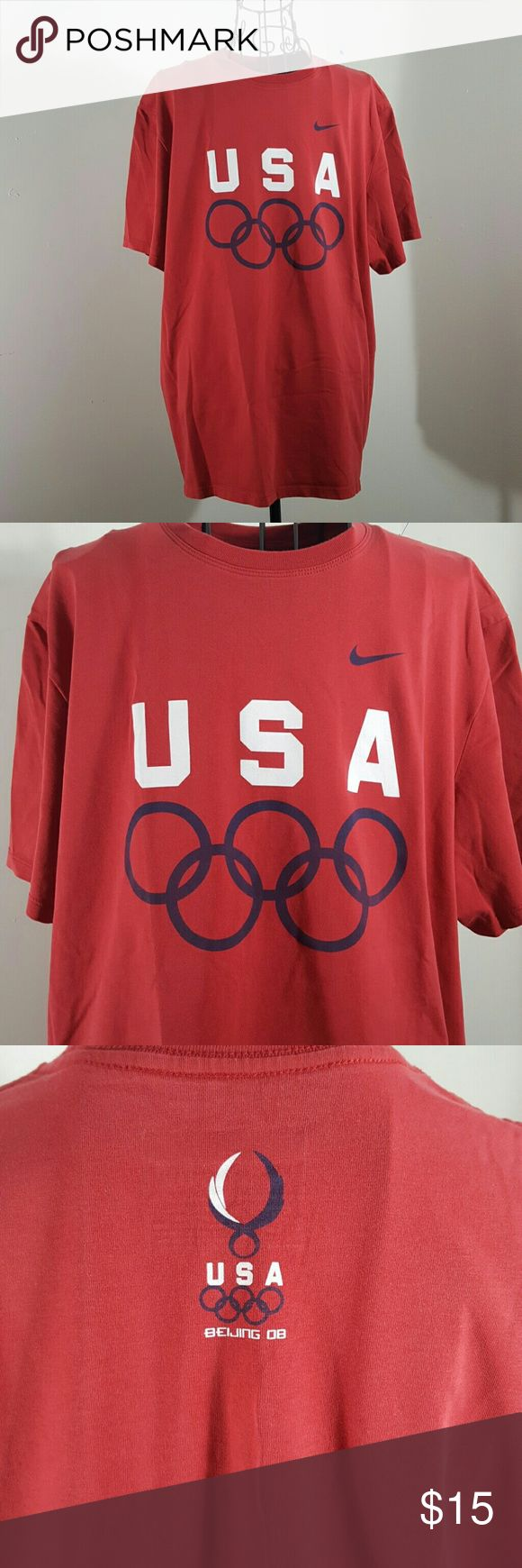 NIKE USA BEIJING OLYMPICS T SHIRT LARGE RED Nike sports tee Nwot Red Large Nike Shirts Tees - Short Sleeve
