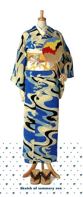 今年の新作浴衣5 「海のスケッチ」