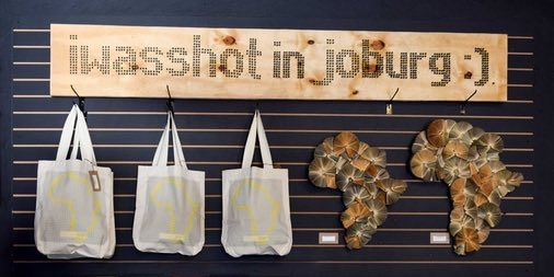 Shopper bags made in Joburg. Recycled wall art made in Cape Town.