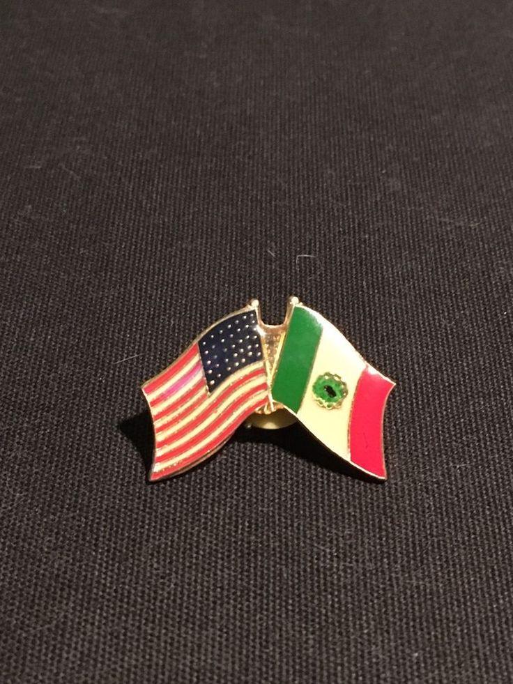 Vintage Mexico Us Flag Friendship Lapel Pin  | eBay