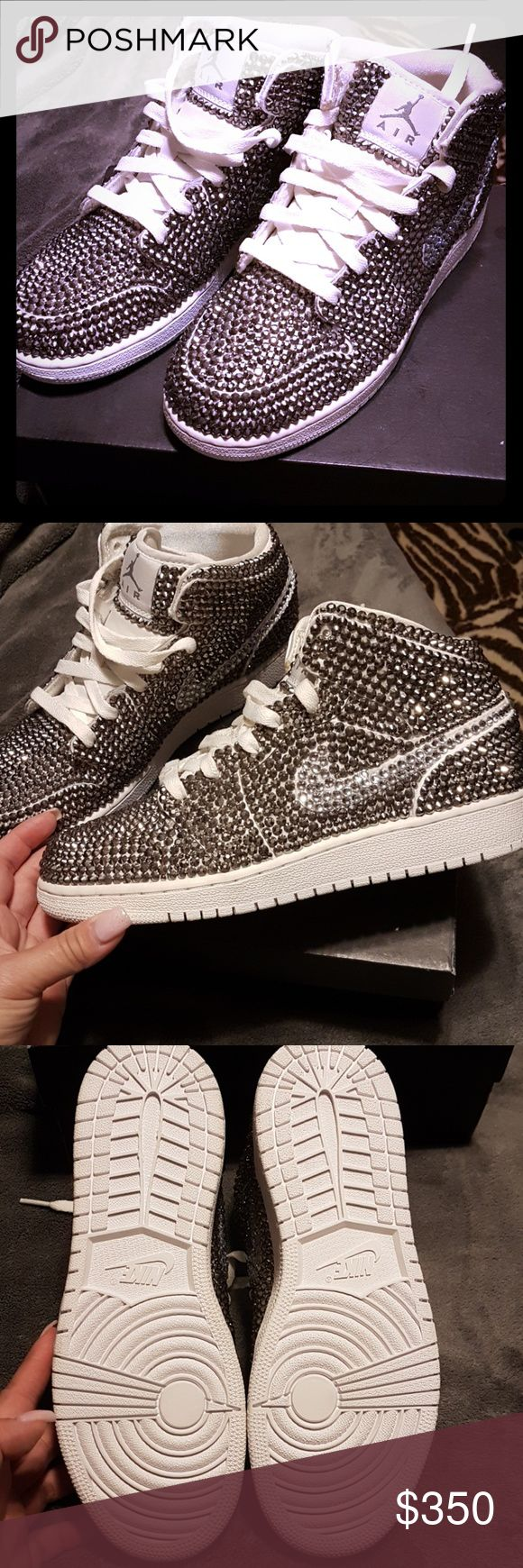 New Jordan Retro Crystal Shoes Selling a brand new pair of Jordans. They are all customized in crystals. One came off when taking a pic. Comes with new glue and a bag of crystals in case some fall off. Thought I would wear these but I never did. My loss your gain. Size 5Y. Jordan Shoes Sneakers