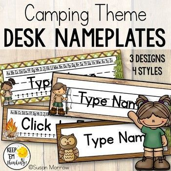 Camping Theme Desk Nameplates Editable - Camping Theme Classroom Decor - Your preschool, Kindergarten, 1st, 2nd, and 3rd grade classroom or home school students are going to love these desk name plates for the camping, campground, woodland, or forest theme classroom. Plus there are even EDITABLE! Click through now to grab yours!! {preK, K, first, second, third graders}