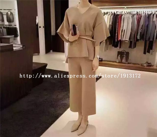 New Women Sets Clothes 2016 High Quality Luxury Brand Summer Style Tops and Skirts Set 2 Piece US $160.38 Specifics Style	Casual Gender	Women Decoration	Sashes Sleeve Style	Batwing Sleeve Closure Type	None Material	Polyester,Rayon Pant Closure Type	Elastic Waist Collar	V-Neck Sleeve Length	Half Brand Name	None  Click to Buy :http://goo.gl/t9O329