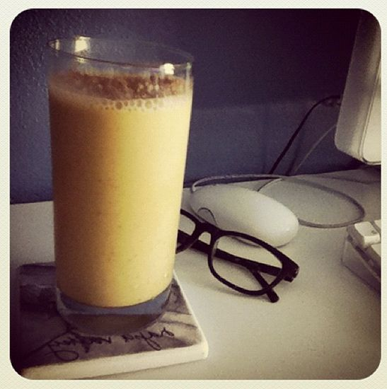 Instead of a big piece of carrot cake, try this smoothie instead: carrot juice, almond milk, Greek yogurt, honey, cinnamon, nutmeg, frozen banana, ice, flax.