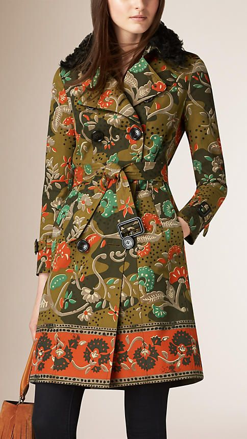 Burberry Antique green Floral Cotton Gabardine Trench Coat~I need this coat in my life