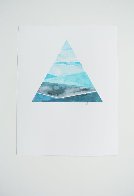 Blue Geometric Watercolor Print - 8.5x11 - Watercolor Art - Abstract Watercolor - Fine Art - Wall Art - Home Decor
