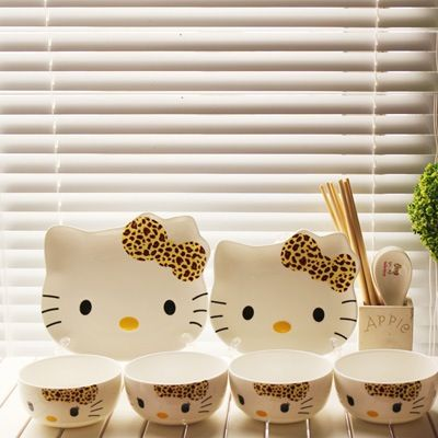 leopard hello kitty bowl sets