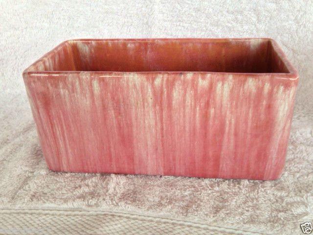 9cm x 20cm A JOHN CAMPBELL PINK & WHITE DRIP GLAZE RECTANGULAR TROUGH