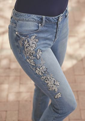 Lacy Embroidered Jean from Monroe and Main. Even casual events can be greeted in style in this gorgeously embroidered jean with faux gem rivets.