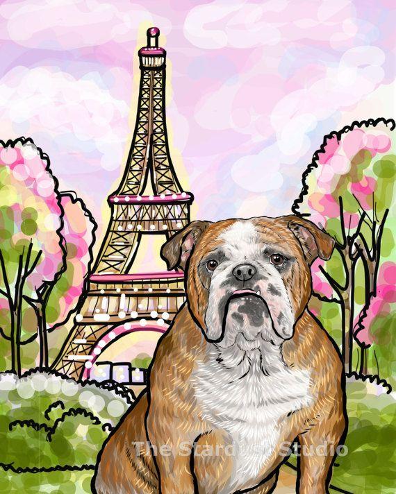 English Bulldog Art Print 8x10 inch 12x16 by TheStardustStudio