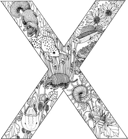 Letter X with Animals coloring page from English Alphabet