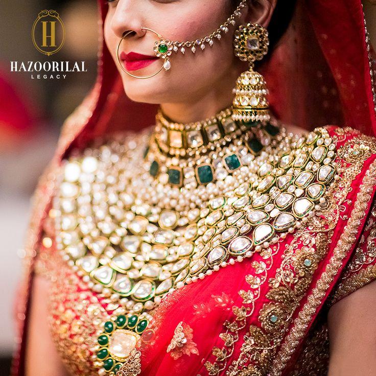 #PolkiPerfection: Indian bride sports a heavy polki cut diamond statement necklace from Hazoorillal jewellery collection along with her red and gold lehenga. #HazoorilalLegacy #Hazoorilal #Wedding #Bridal #Jewelry #KundanPolki #Necklace #Trousseau