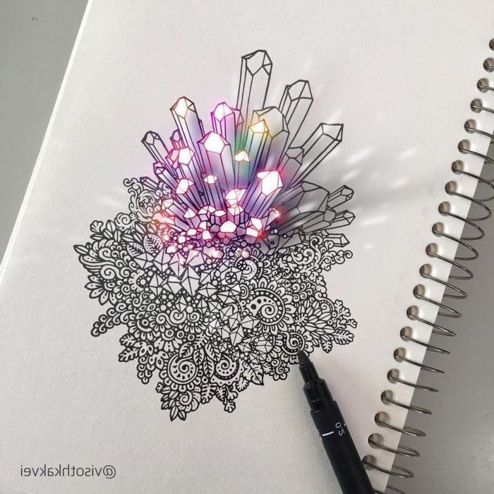 Cute Simple Drawings Black White Doodle Colourful Crystals 3d Art Cool Drawings Draw On Photos Drawing Tutorial Easy