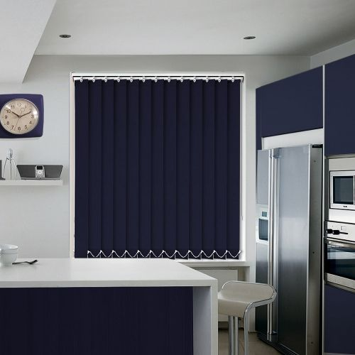 Gorgeous dark blue vertical blind that will add a sense of sophistication to your room.