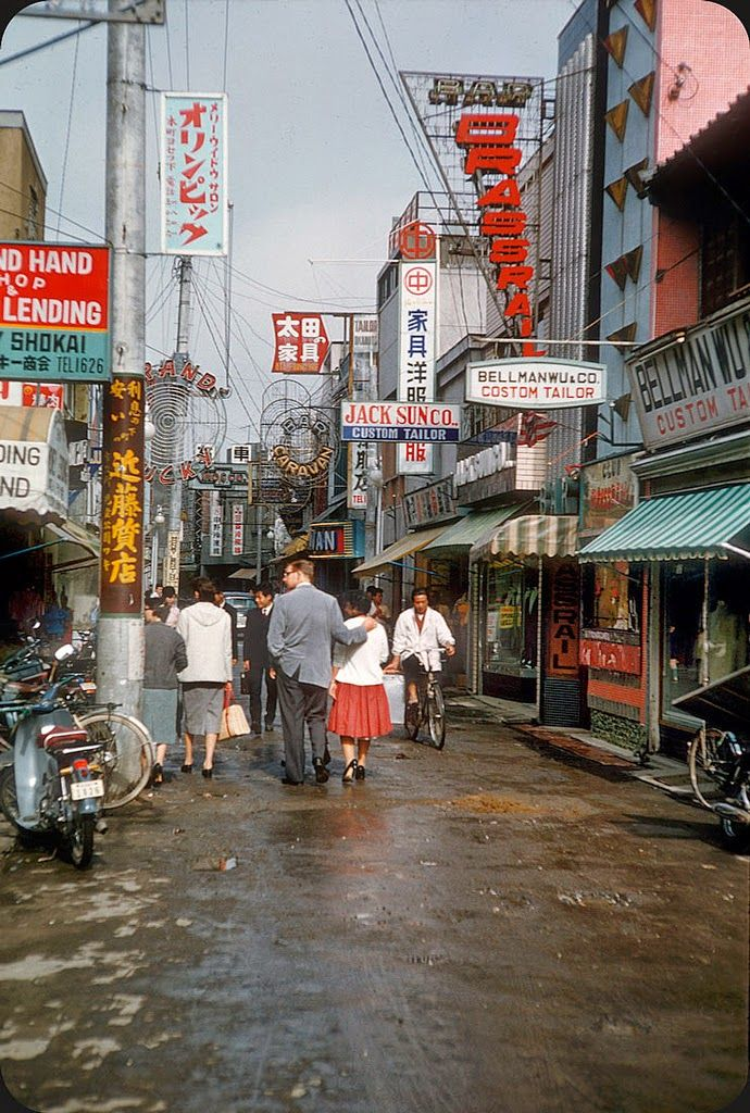 Tokyo 1950s-60s. Must be somewhere near American millitary base.
