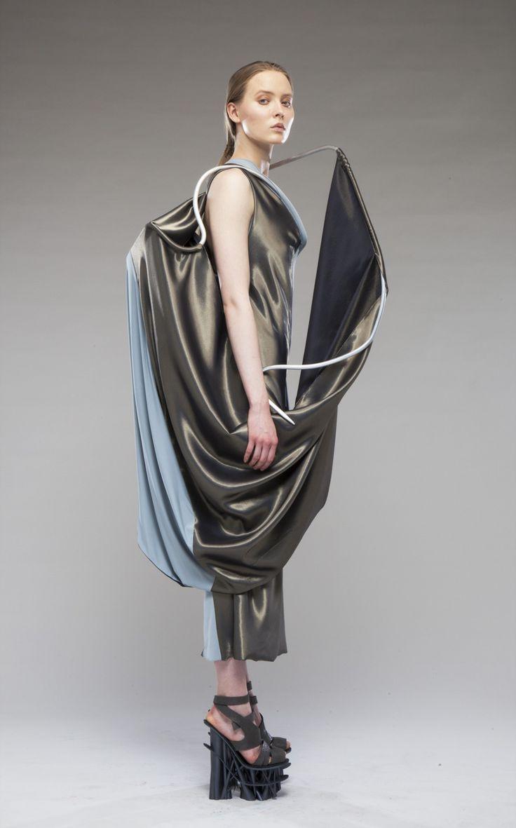 High fashion fabric houston - Conceptual Fashion 3d Dress With Wire Frame Draped Fabrics Sculptural Fashion
