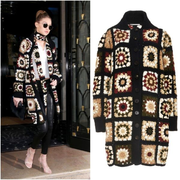 Ballerific Fashion: Gigi Hadid Wearing Rosetta Getty Mixed Media Granny Square Cardigan, Scarf, and Stuart Weitzman Nudist Sandals - Baller Alert.com