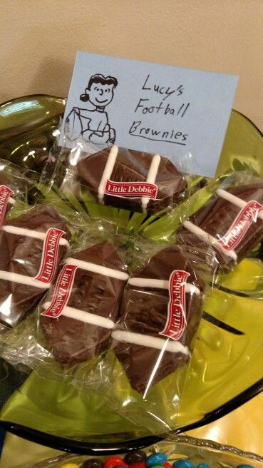 Lucy's football brownies for a Peanuts Charlie Brown birthday party