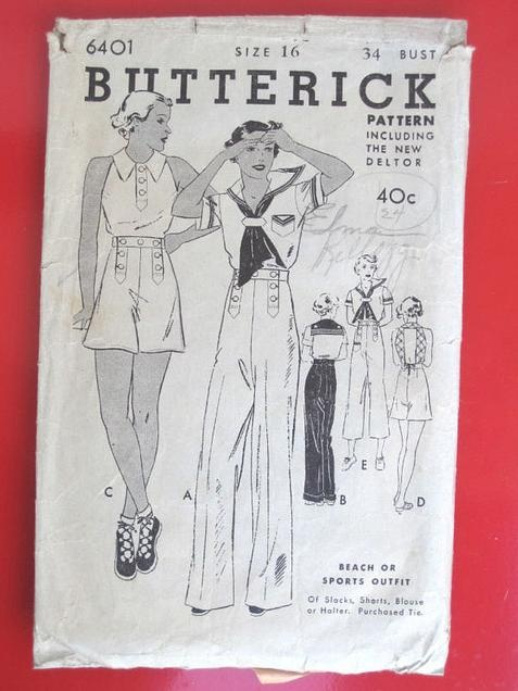 1930s beach or sports outfit pattern