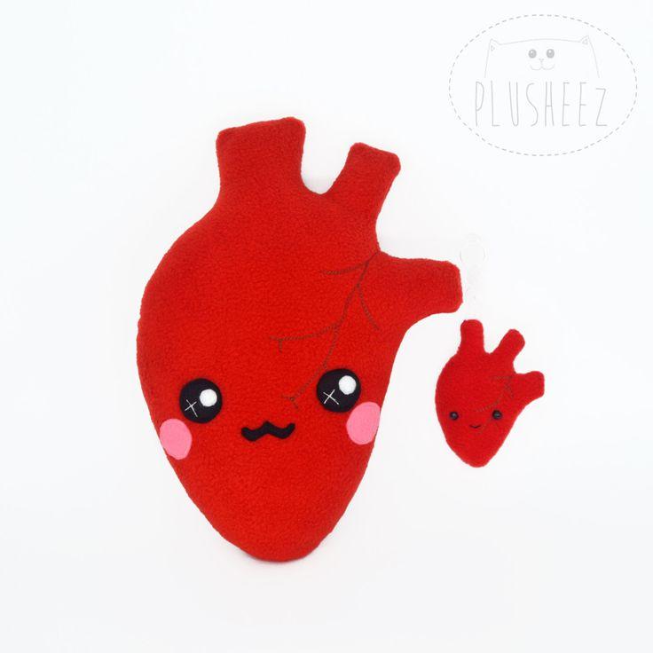 Anatomically correct heart plushie and keychain set by Plusheez on Etsy