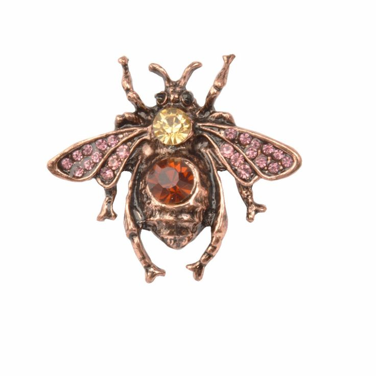 Unique Antique Purple Gold Bee Brooches Hombre Suit Lapel Pin Cordao Badge Insect Brosch Strass Cristal Femme Accessories #Affiliate