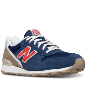 New Balance Women's 696 Lakeview Casual Sneakers from Finish Line - NAVY/ORANGE 9.5