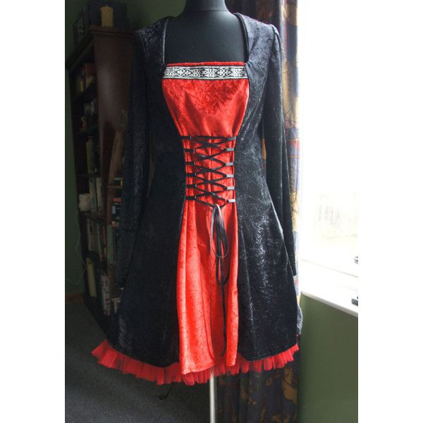 Little Red Tunic Dress Gothic Celtic Mediaeval Witch Gown Plus Sizes... ($104) ❤ liked on Polyvore featuring dresses, gowns, black, women's clothing, evening party dresses, plus size corset, plus size evening gowns, plus size black dress and evening gowns