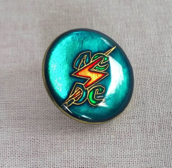 Rare Vintage 1980's 'Ride the Lightning' AC / DC Resin and Metal Pin