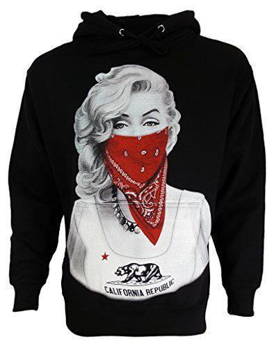 Marilyn Monroe with Red Bandana Classic Urban Graphic Black Unisex Hoodie
