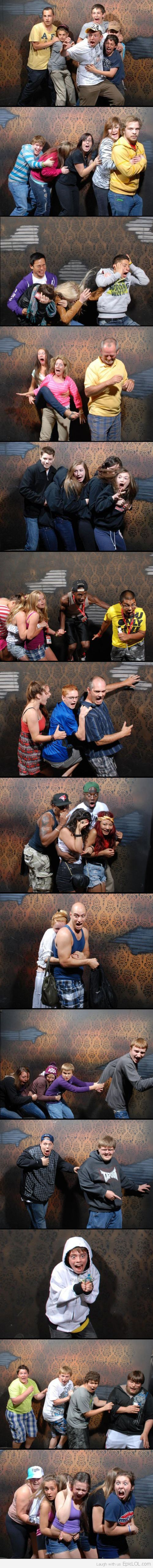 Some scary faces in haunted house....SO funny!