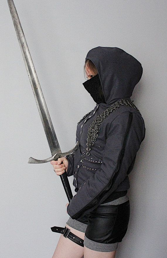 Chainmail Assassin's Rock - Metal - Goth Winter Women's Jacket - S/M