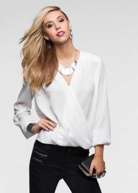 Блузка под запах, RAINBOW, цвет белой шерсти