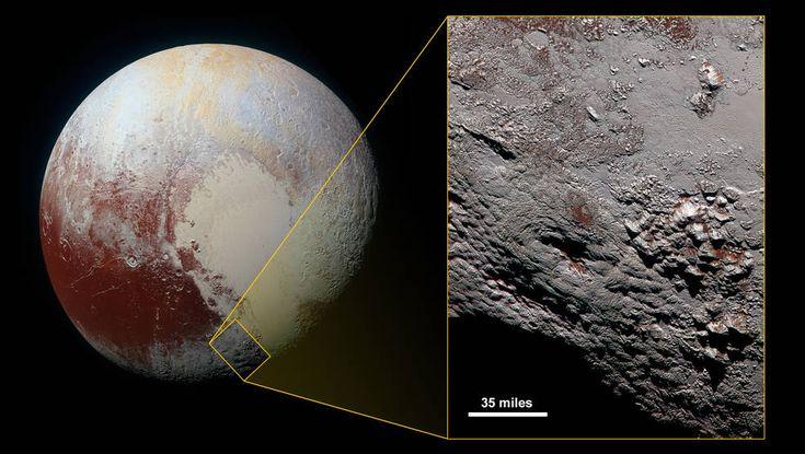 Sur Pluton, la présence de volcans de glace se confirme - Sciencesetavenir.fr. Pluton est principalement composée de roche et de glace deméthane, mais aussi de glace d'eauet d'azotegelé. Son diamètre est d'environ les deux tiers de celui de laLune.Pluton est lecorps principaldusystème plutonien.
