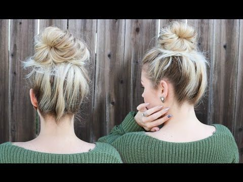 5 Minute EASY Messy Bun Without Teasing! - YouTube