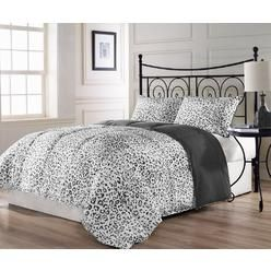 Cozy Beddings SNOW LEOPARD 3pc All Season Reversible Down Alternative Comforter Set Black, White, Grey Bed Cover with Anti-Microbial Finish
