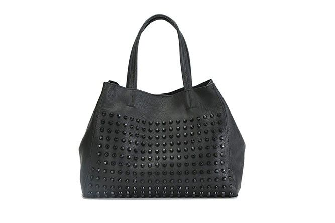 THE BLACK-ON-BLACK STUDDED TOTE