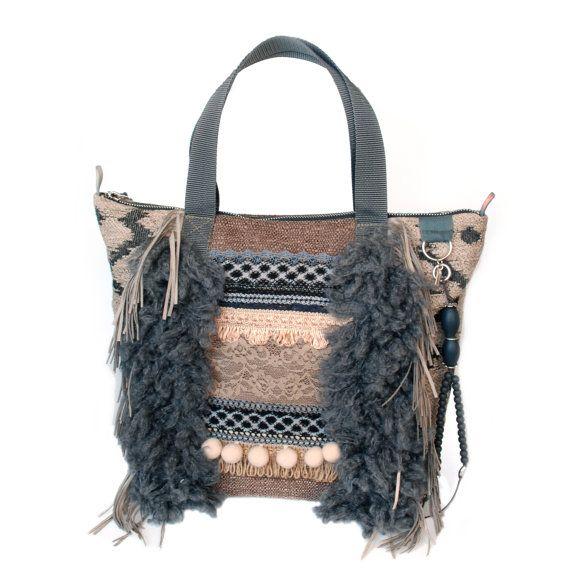 Bohemian tote bag fringed in grey and beige, handmade purse western style, OOAK handbags boho style, woman gift handmade, bags Navajo fabric