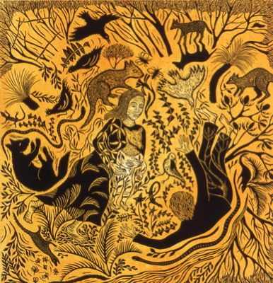 Kati Thamo - Bush Ballad - linocut