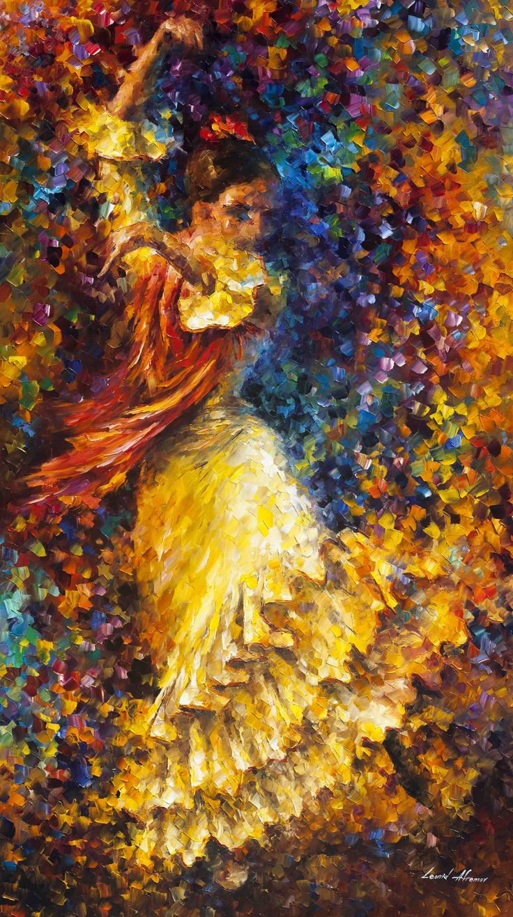 FLAMENCO AND FIRE  PALETTE KNIFE Oil Painting On Canvas