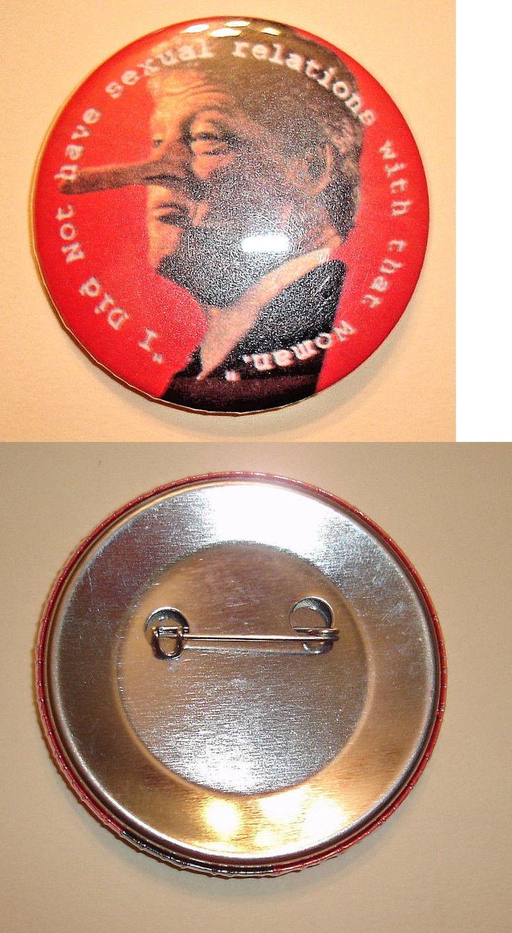 Bill Clinton: Bill Clinton, Monica Lewinsky, Pinocchio Pinback Pin Button -> BUY IT NOW ONLY: $5.99 on eBay!