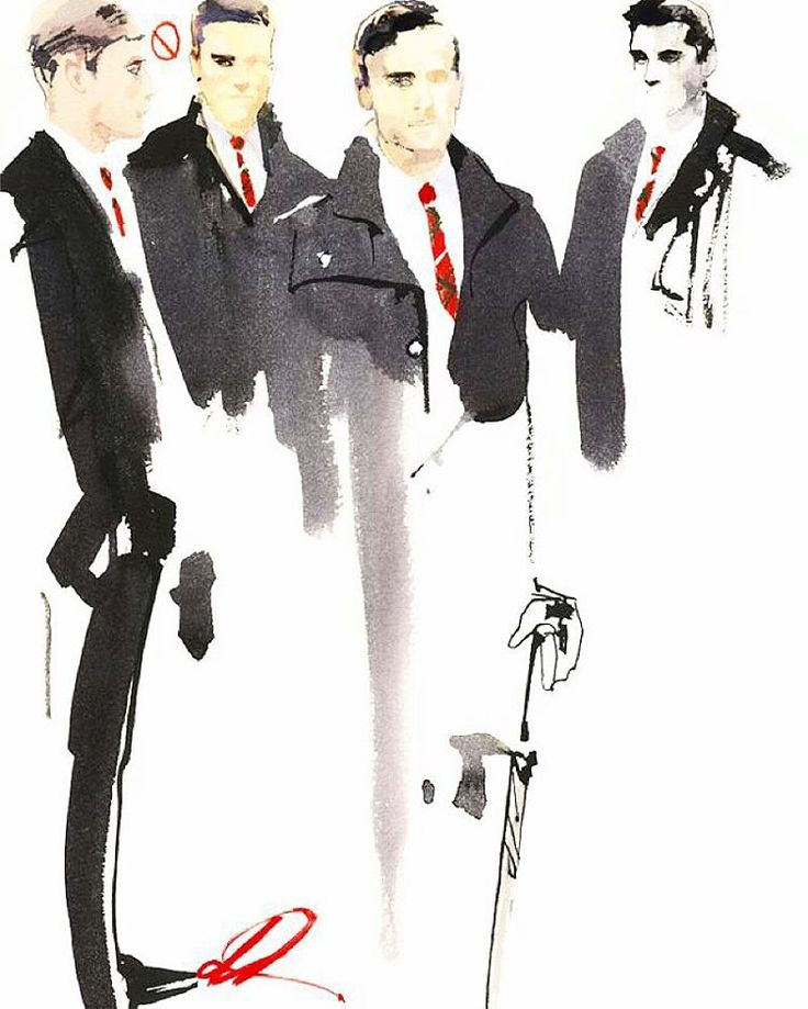 """""""Puis-je vous aider?"""" The Cravates Rouges are an army that march on their cheekbones. Part security, part hospitality, these beaux jeunes hommes stand sentinel at every Paris fashion show. Essential requirements: studied languor, a quizzical brow and only-the-French-can-do-it hair."""