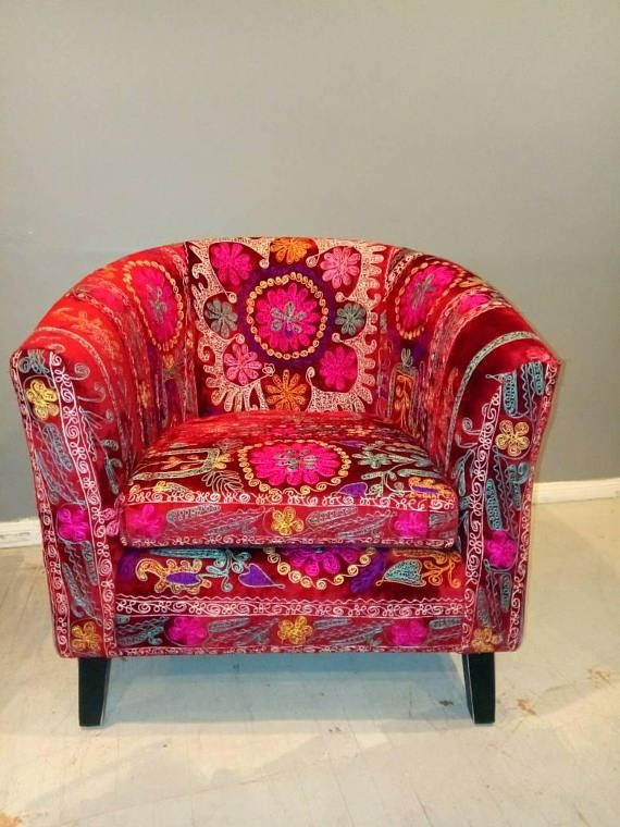 MCM chair  suzani barrel chair tub chair hollywood regency