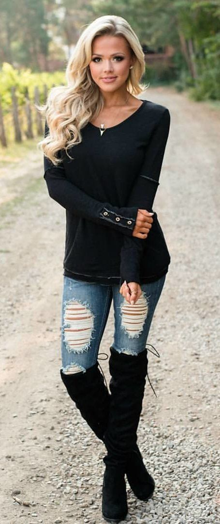 #fall #outfits women's black scoop-neck long-sleeved shirt, distressed blue skinny jeans and black knee-high boots