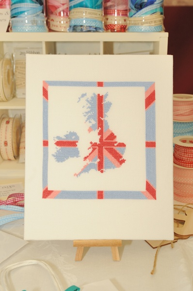 Embroidered map of the UK from StitchKits