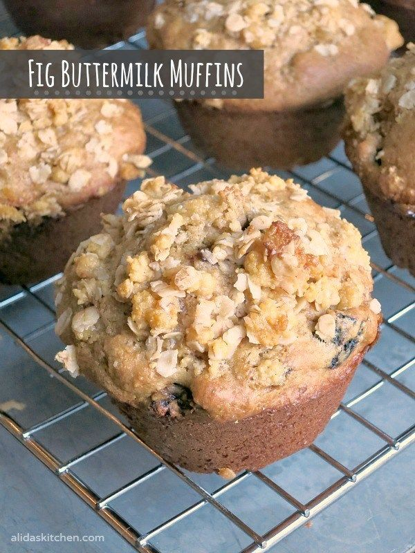 An easy recipe for Fig Buttermilk Muffins |  Muffins: 2½ cups whole wheat pastry flour (or all purpose flour) ½ cup sugar (I used Tate+Lyle® Honey Granules) 1 teaspoon baking powder 1 teaspoon baking soda 1½ cups buttermilk 2 tablespoons oil 1 teaspoon vanilla 1 egg 1½ cups chopped dried figs Topping: ¼ cup sugar (I used Tate+Lyle® Honey Granules) ¼ cup quick oats 1 tablespoon butter, melted