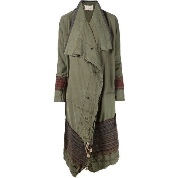 Greg Lauren Asymmetric Drapped Coat ($2,075) ❤ liked on Polyvore featuring outerwear, coats, green, army green coat, greg lauren, asymmetrical coat, green military coat and military style coat