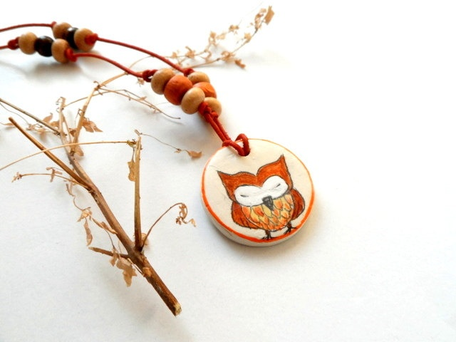 #Owl art Necklace, Hand Painted  #pendant with wooden beads